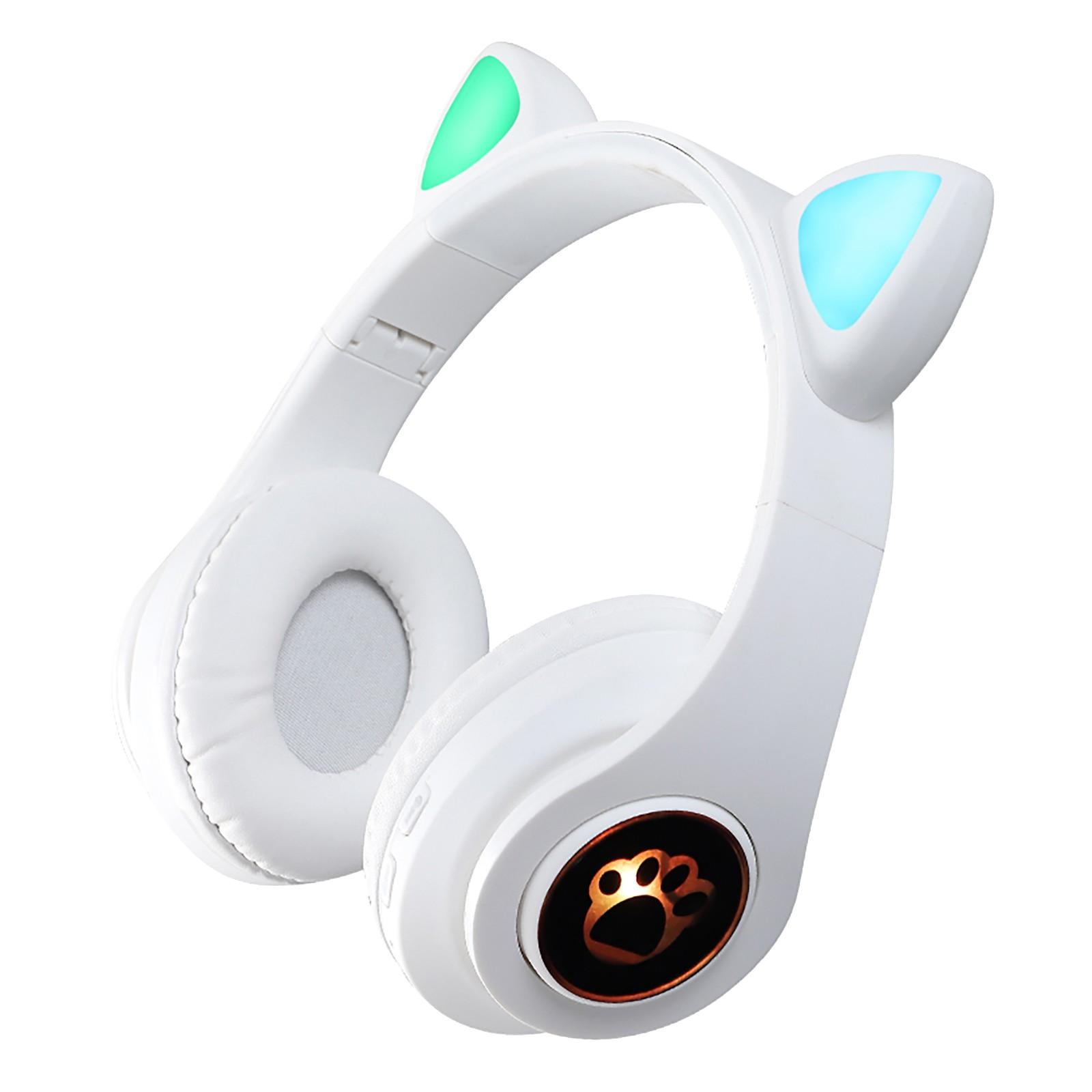 Gaming Earphones B39 Cat Ear Wireless 5.0 Luminous Noise Gaming Headset Bluetooth-compatible Headphones White
