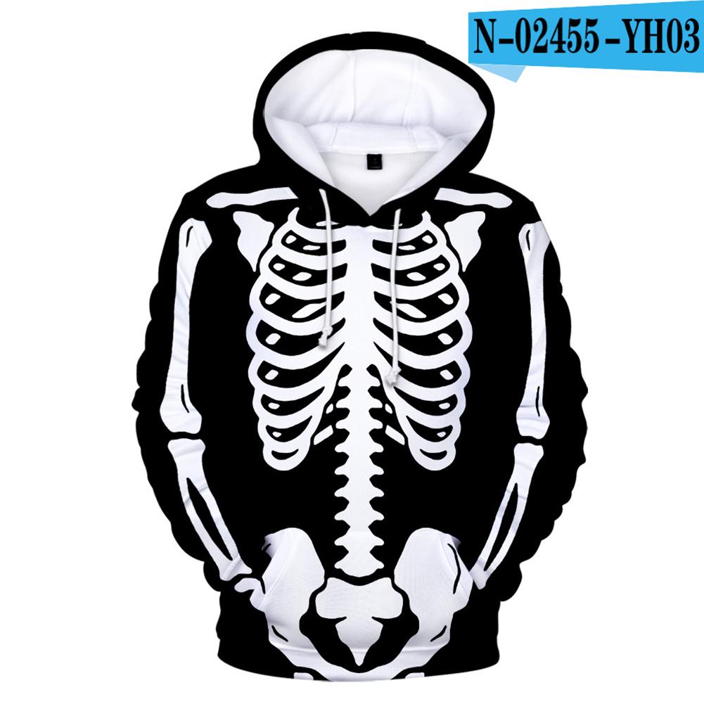 Unisex Halloween Skeleton Hoodie Plush Sweatshirt Long Sleeve Loose Printing Pullover N-02455-YH03 style 22_L