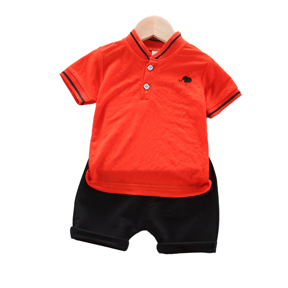 Kids Boys Cotton Embroidered Shirt with Elephant Printing + Shorts for Baby Orange_90cm