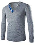 [US Direct] Men Metal Button V Neck Long Sleeve Slim Muscle T Shirt Grey M