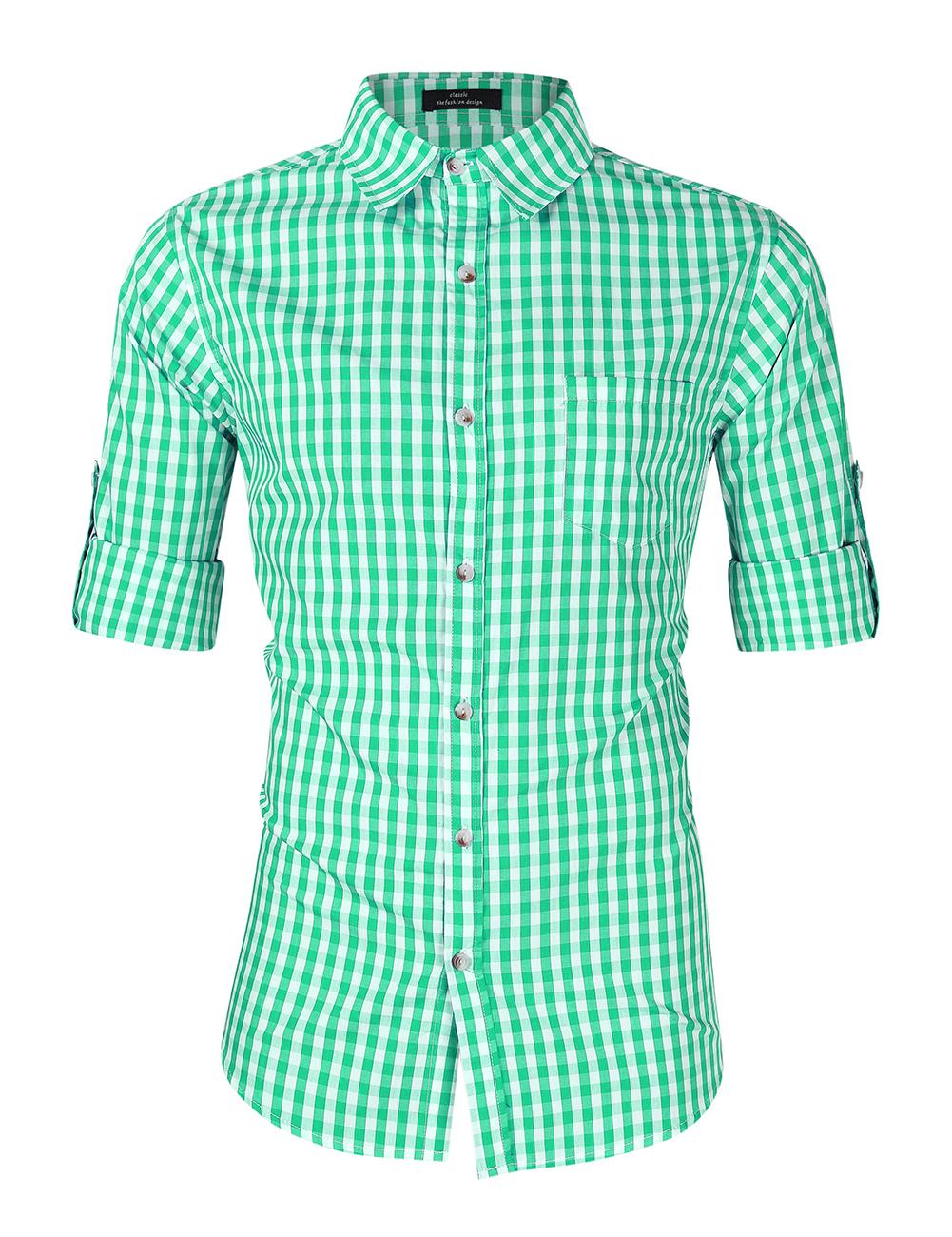 [EU Direct] Men's Oktoberfest Costumes Long Sleeve Shirt Fashion Plaid Front Pocket Classical Shirt Tops