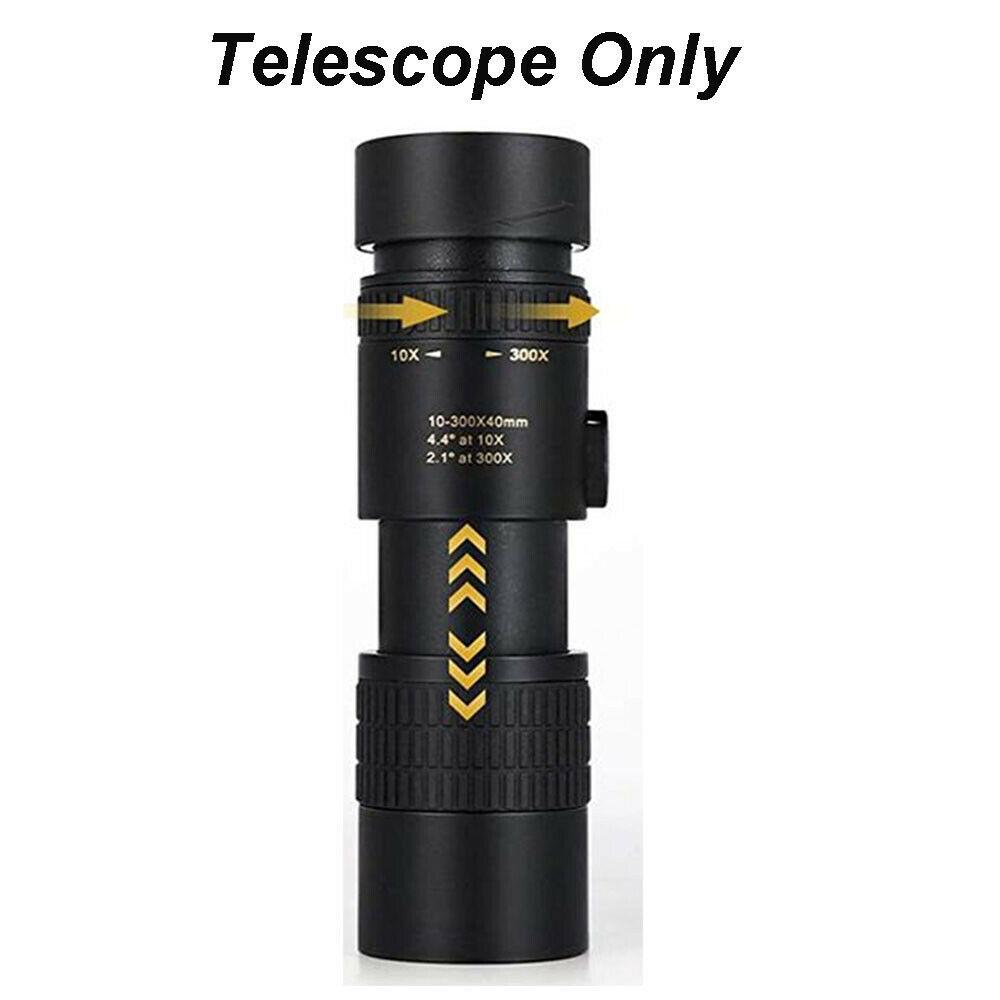 Portable Monocular Telescope Super Telephoto Zoom 10-300X40mm  Tripod Clip Night Vision telescope
