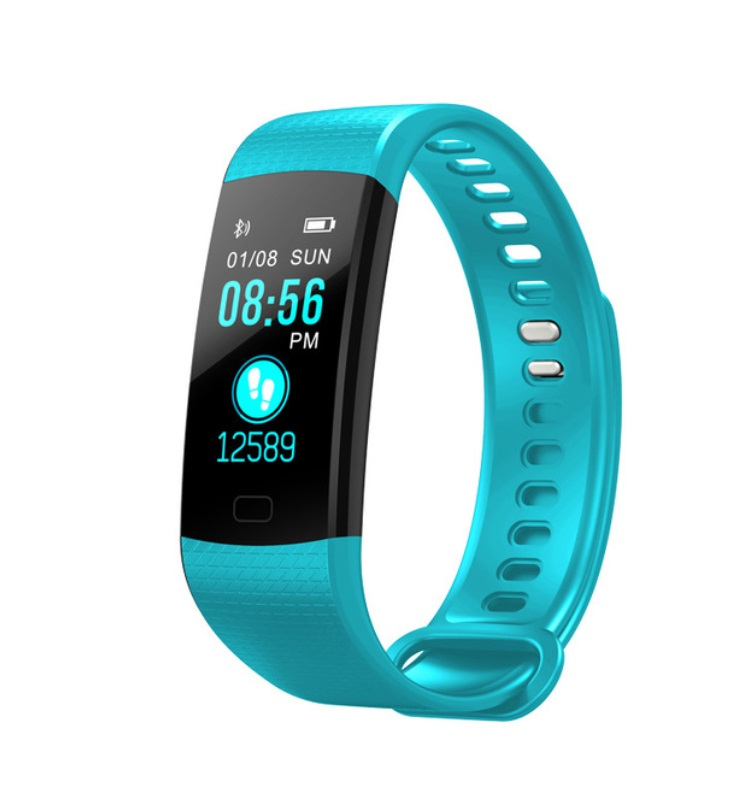 Y5 Smart Bracelet Color Screen Heart Rate Blood Pressure Blood Oxygen Health Monitoring Pedometer Smart Watch lake blue