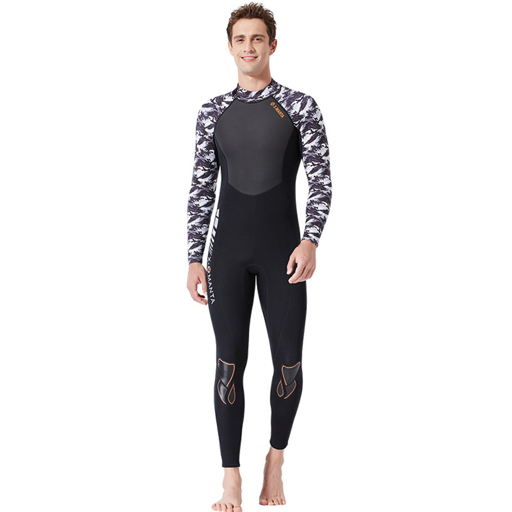 Diving Suit for Men 1.5MM Siamese Warm Jellyfish Suit Sun Block Female Ourdoor Long Sleeve Swimwear 1.5MM male black/white_L