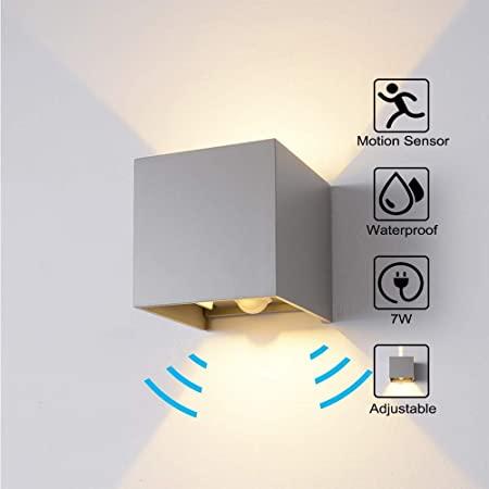 Waterproof LED Sensor Wall Light Aluminum Lamp for Outdoor Garden Corridor Lamp White shell white light