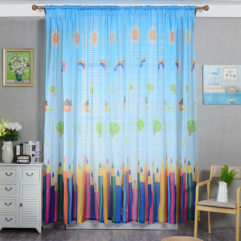Pencil Printing Window Curtain Tulle for Living Room Bedroom Drapes Decor Blue pencil yarn_1m wide x 2.7m high