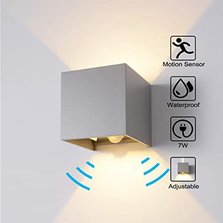 Waterproof LED Sensor Wall Light Aluminum Lamp for Outdoor Garden Corridor Lamp White shell warm light