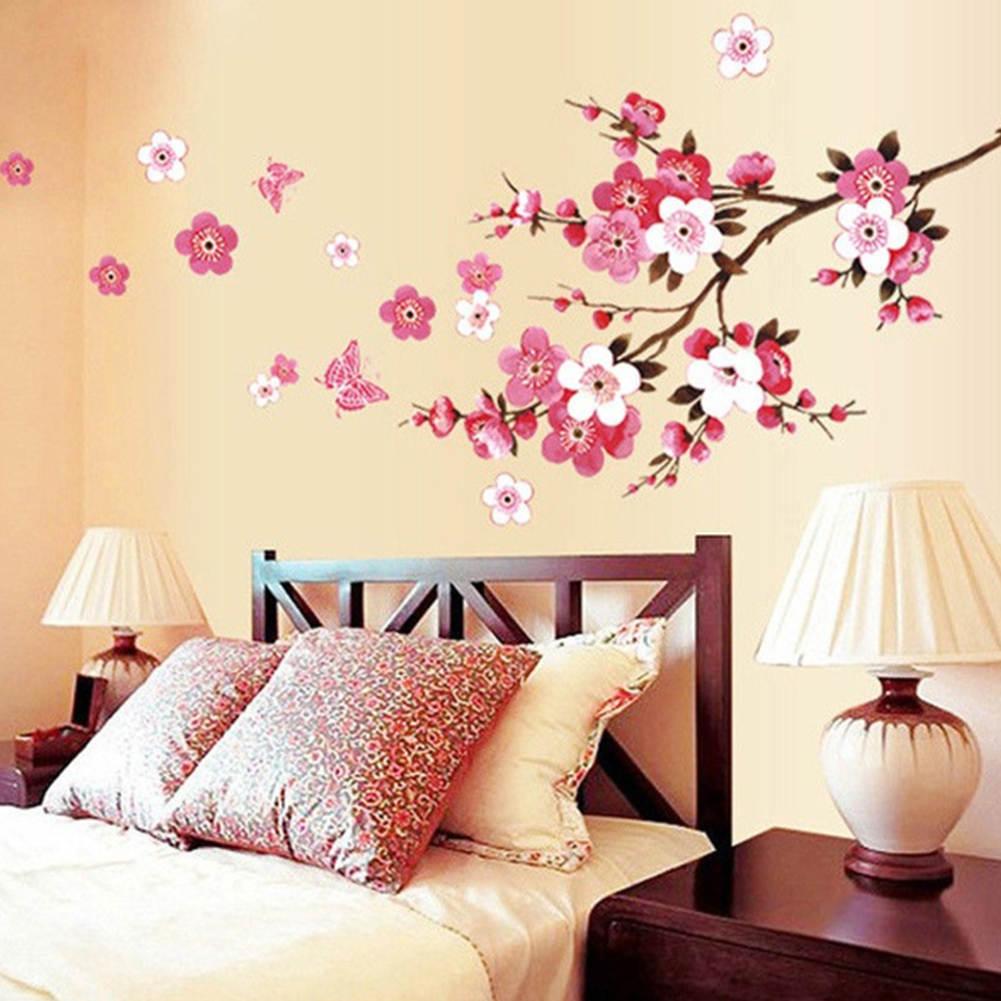 Removable Pink Color Butterflies Peach Blossom Pattern Wall Sticker for Living Room Bedroom AY6008