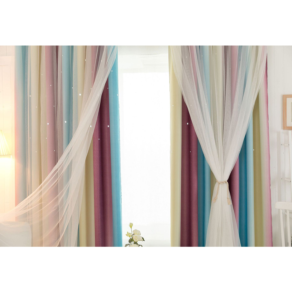 Color Gradient Double Layer Hollow-out Star Shading Curtain with Tulle 6 red yellow blue_W 100cm * H 200cm