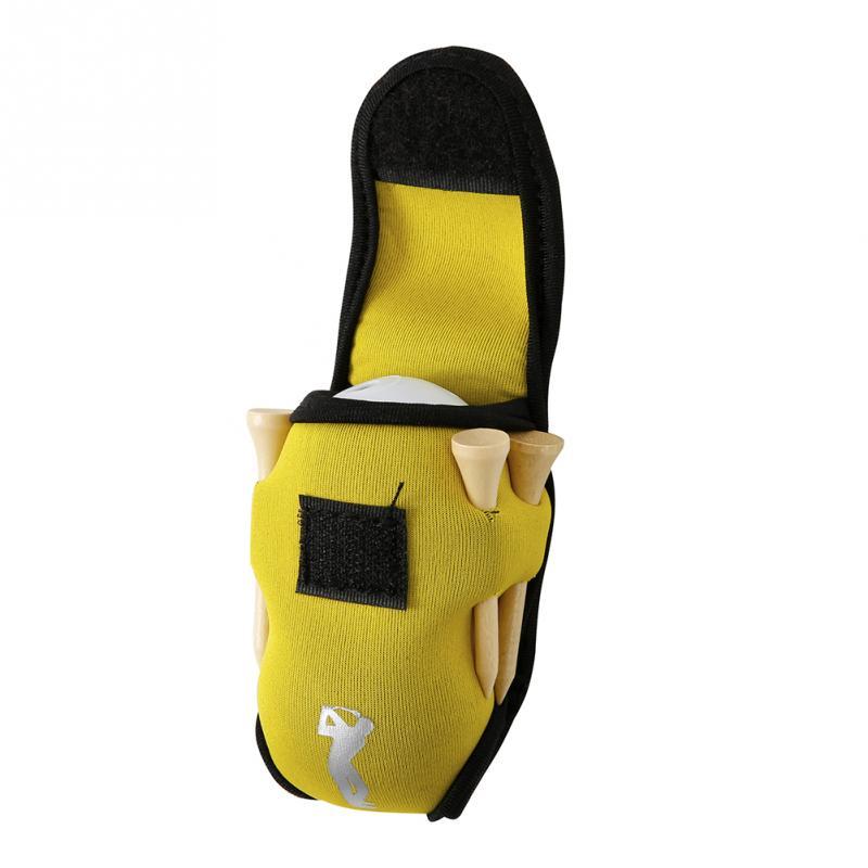 Small Golf Ball Bag Mini Waist Pack Bag 2 Ball + 4 Tee Neoprene Holder for Outdoor Golf Training Balls Tees Pouch yellow