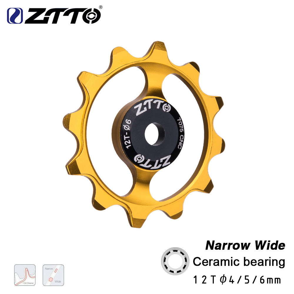 ZTTO 12T Bicycle Rear Derailleur MTB Road Bike Ceramic Bearing Pulley Jockey Wheel Guide 4mm 5mm 6mm Roller Idler Bicycle Parts Golden
