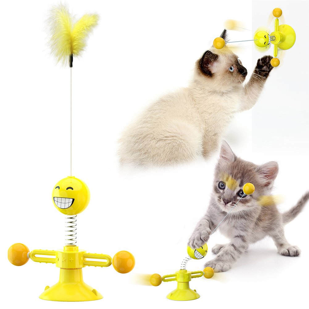 Funny Turntable Mouse Spring Teaser Toy with Feather for Pet Cats Yellow_L
