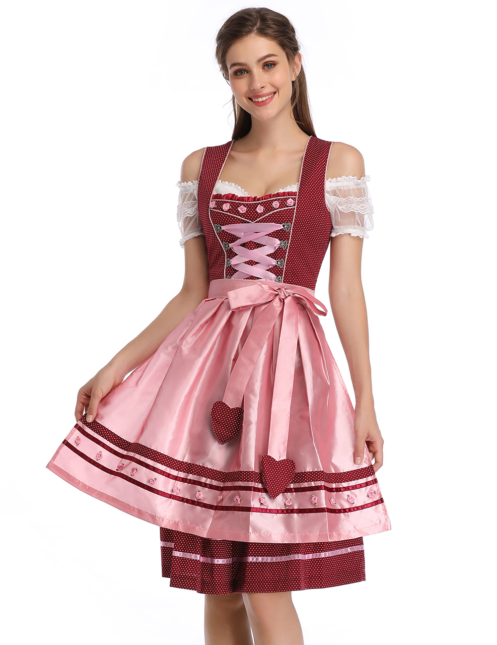 Kojooin Women's Traditional German Dirndl Dress for Bavarian Oktoberfest Party Festival Halloween Carnival