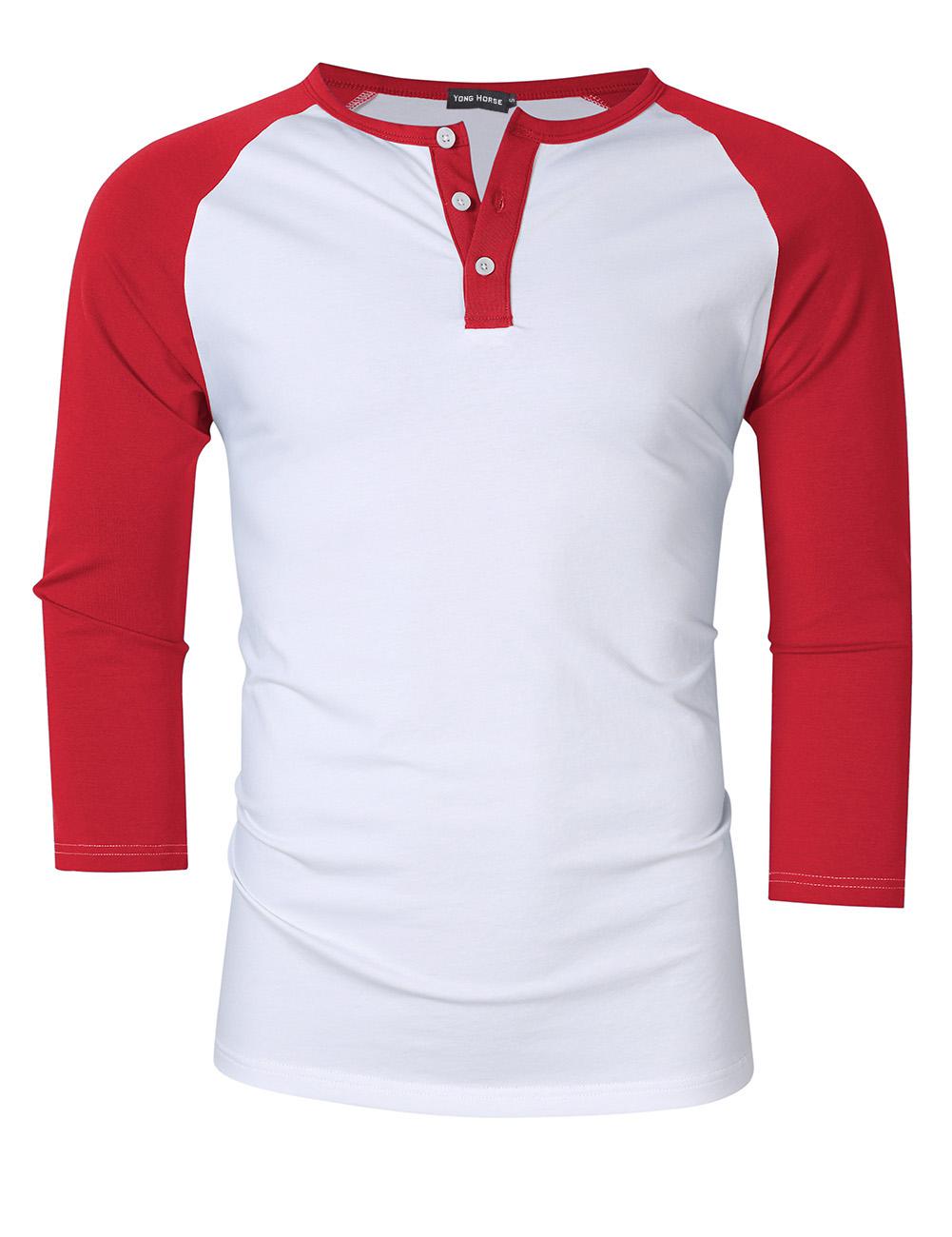 [US Direct] Yong Horse Men's Casual Slim Fit Baseball Raglan 3/4 Sleeve Henley Shirt White-red_S
