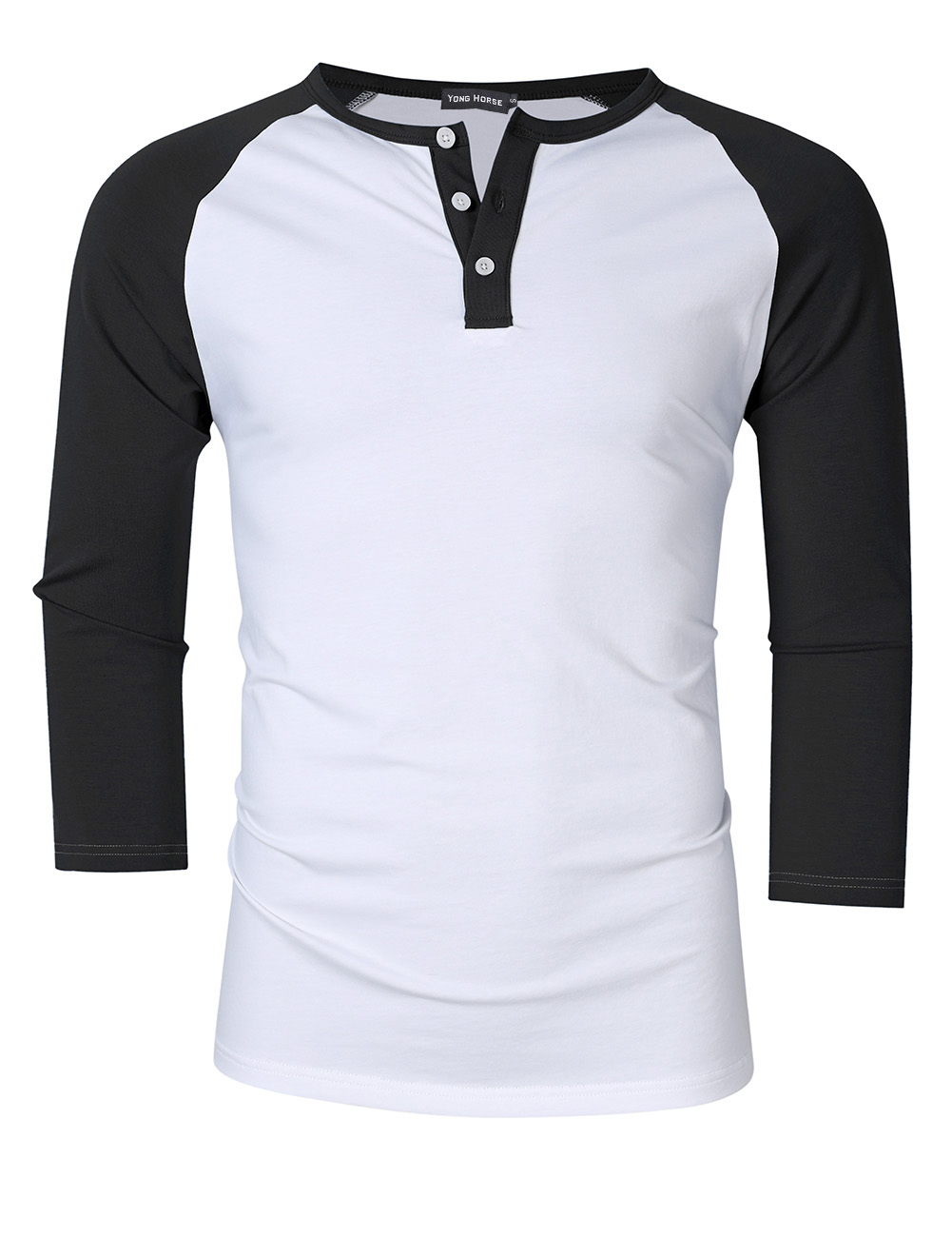 [US Direct] Yong Horse Men's Casual Slim Fit Baseball Raglan 3/4 Sleeve Henley Shirt White-black_S