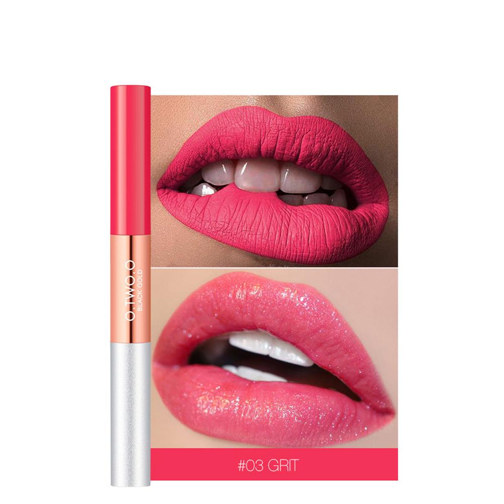 2 in 1 Matte & Glitter Lipgloss Velvet Lip Tint Moisturizer Long Lasting Liquid Lipstick