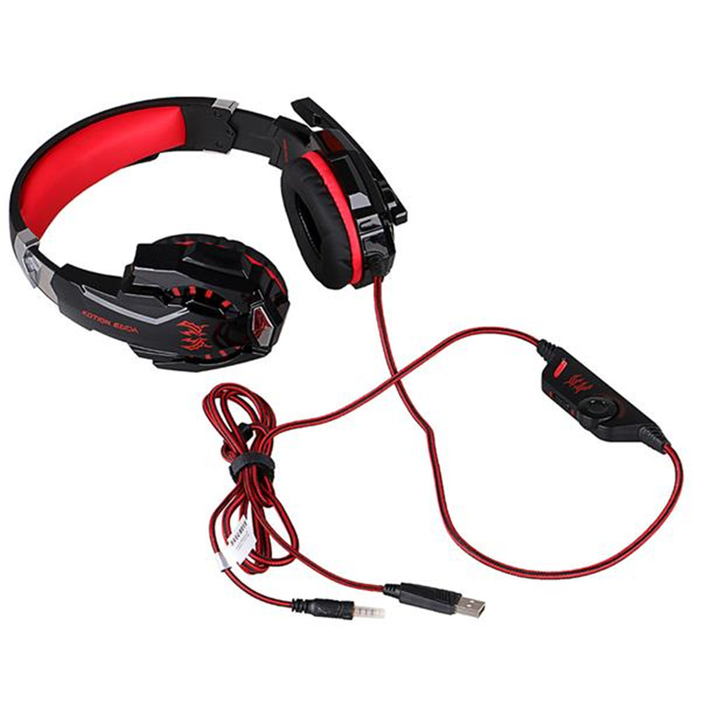 G9000 Gaming  Headset 3.5mm Single Jack Stereo Wired Headphone With Led Light Microphone Black red_40350273