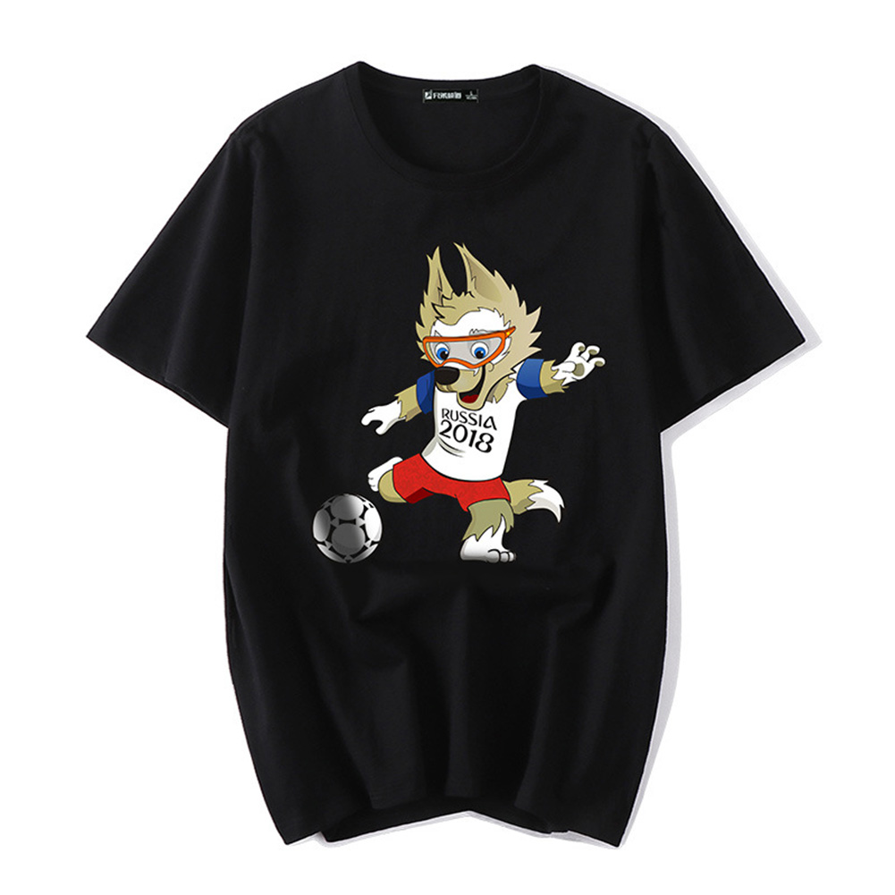 Unisex Fashion Creative World Cup Theme Printing Pattern T-Shirt Simple Casual Tops