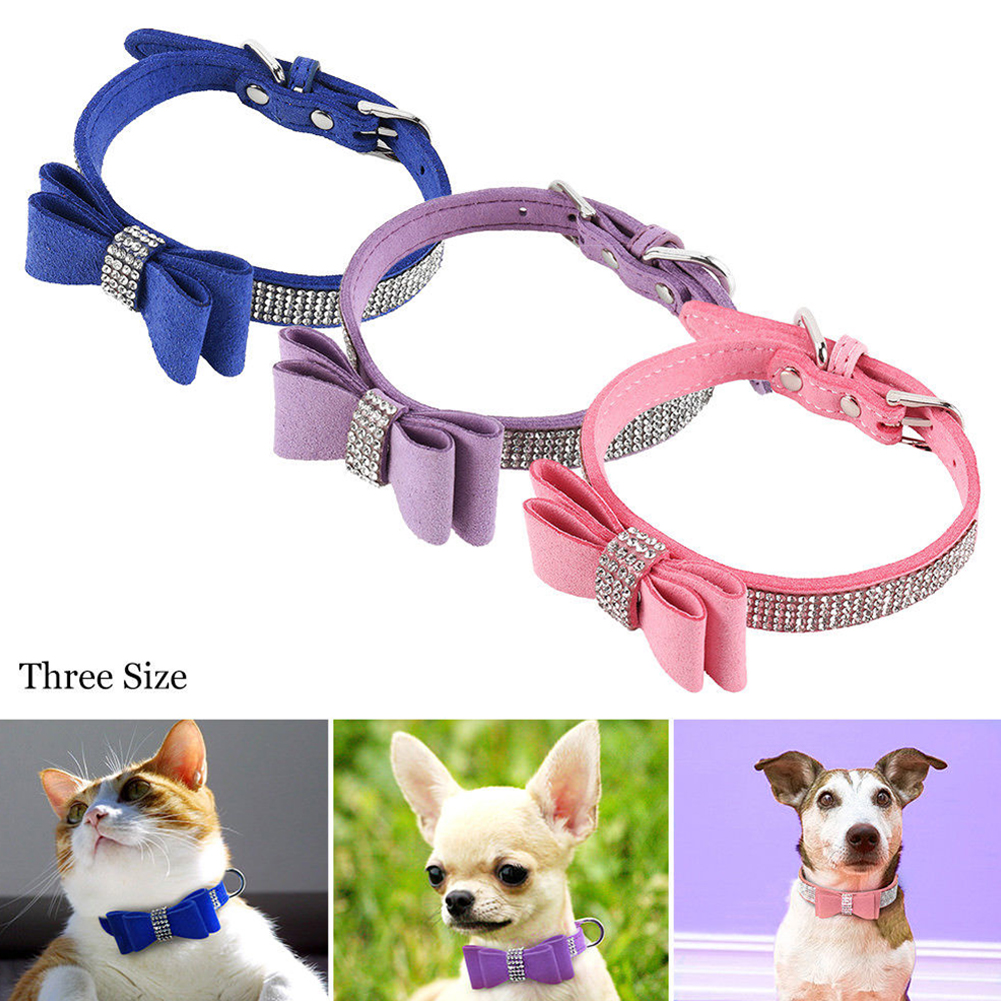 Leather Rhinestone Diamante Dog Collar Soft Bow Tie Design for Cat Puppy Small Pet Pink_L