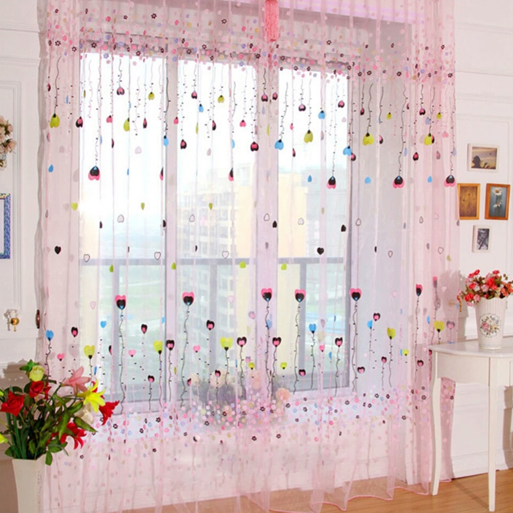 1PC Flying Balloon Tulle Curtain Window Screening Gauze Drape Balcony Voile for Home Hotel Decoration Unwashable (Rod Pocket Version) Pink_100X200CM