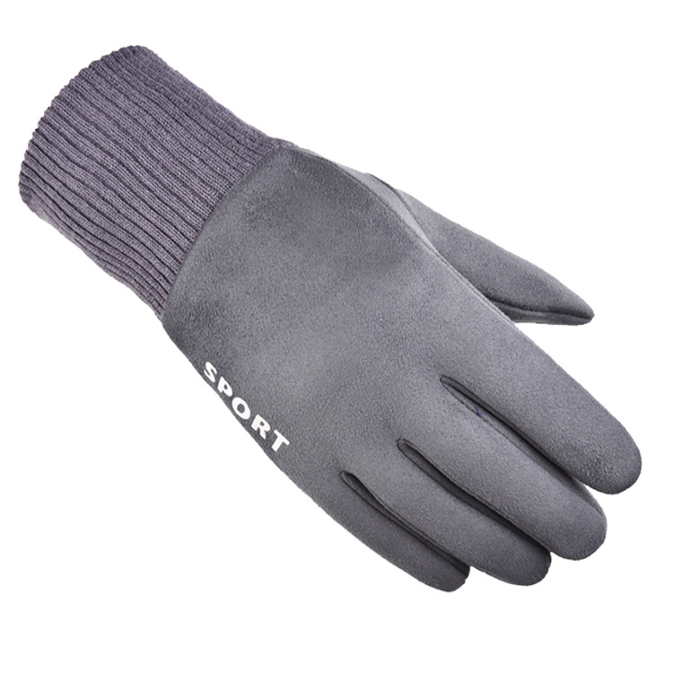 Cold-proof Gloves Windproof Ski Anti Slip Winter Gloves Cycling Fluff Warm Gloves For Touchscreen gray_One size
