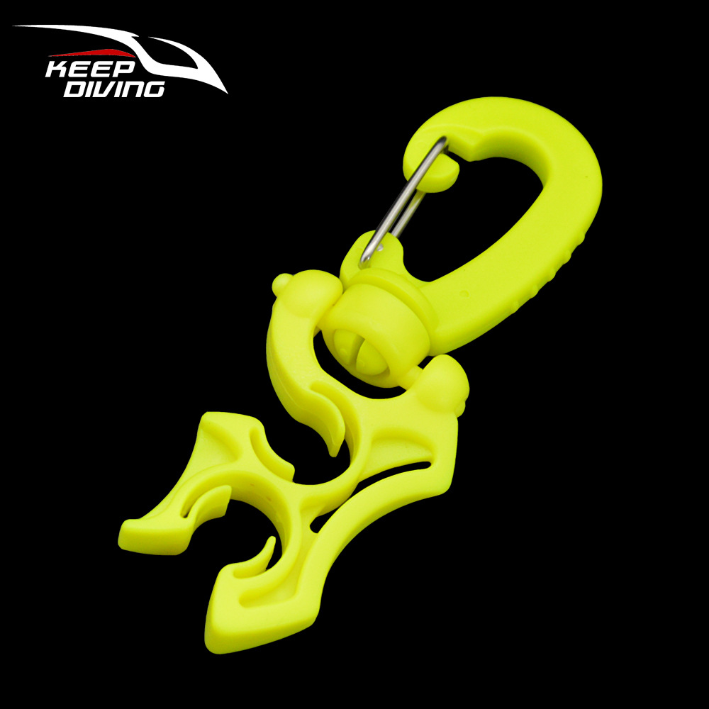 Regulator Double BCD Hose Holder with Clip Buckle Hook for Scuba Diving Snorkeling Fluorescent green