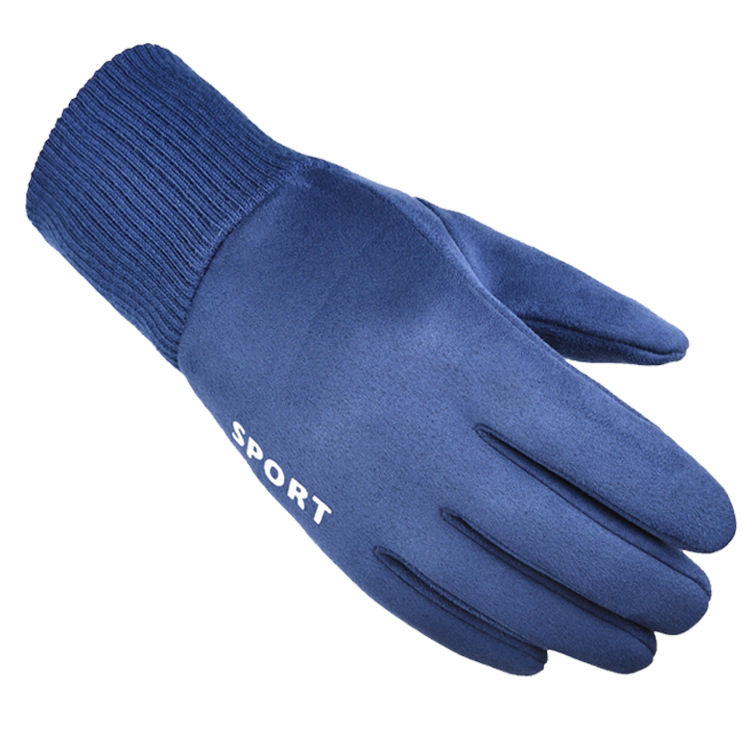 Cold-proof Gloves Windproof Ski Anti Slip Winter Gloves Cycling Fluff Warm Gloves For Touchscreen blue_One size