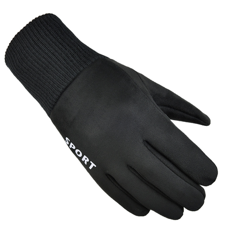 Cold-proof Gloves Windproof Ski Anti Slip Winter Gloves Cycling Fluff Warm Gloves For Touchscreen black_One size