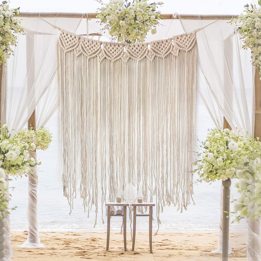 39Inch*33Inch Cotton Thread Hanging Tapestry for Wedding Wall Living Room Bedroom Decor 85*110CM