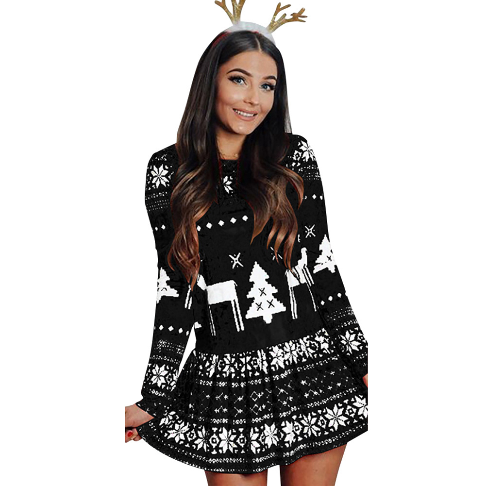 Women's Dress Slim Long-sleeve Crew-neck Printing Short Skirt black_XL