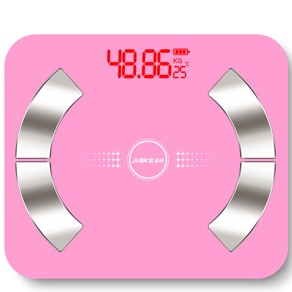 Body Fat Scale Multi-fonction Electronic Scale APP Bluetooth Smart Weighing Scale Fat test 6031-30 * 26 fan-shaped pink_Battery type