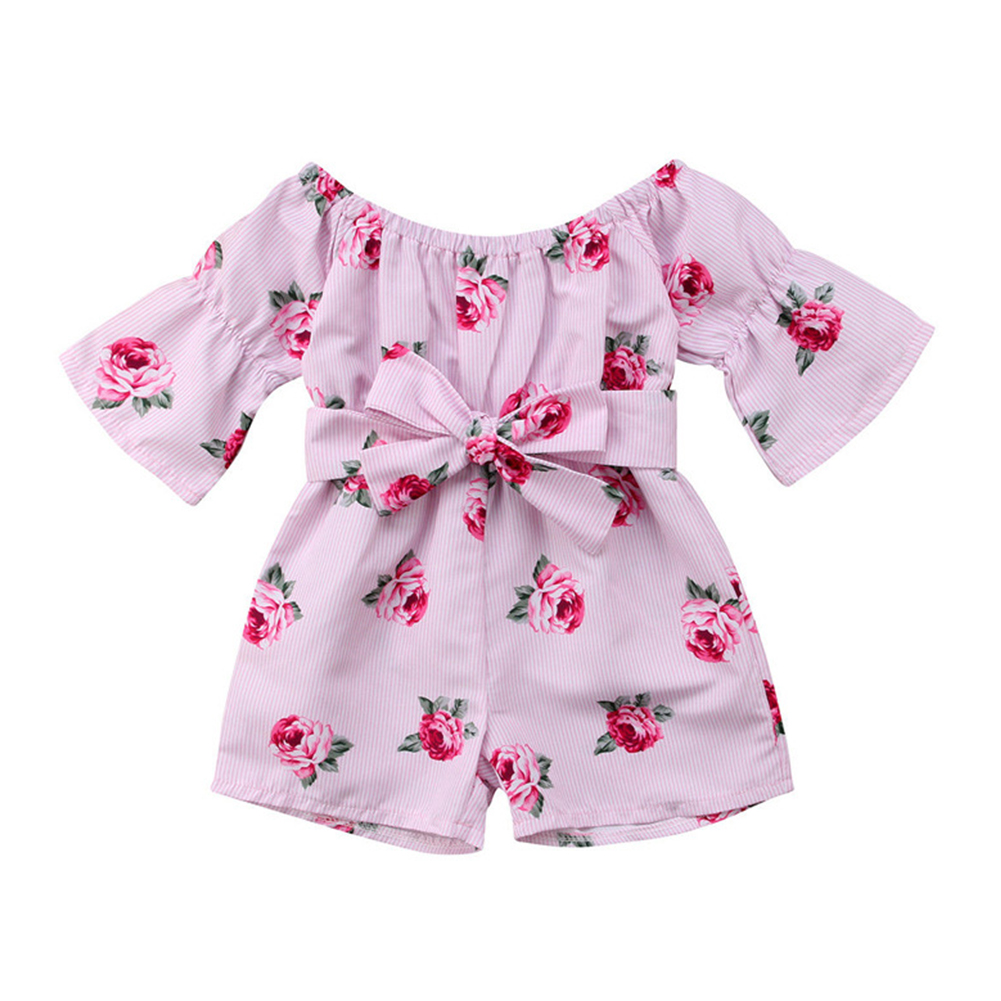 Girls Summer Cute Jumpsuit Baby Print Bows Climbing Romper  Rose red_100