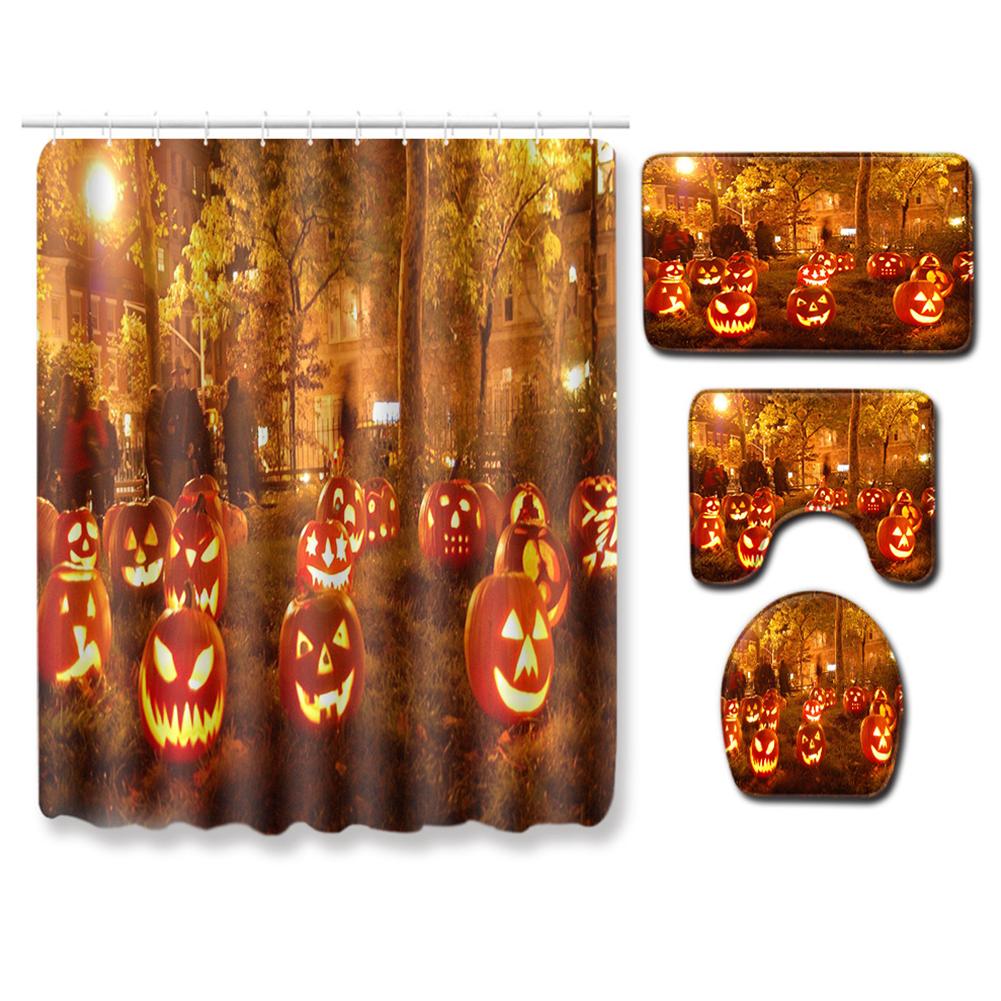 4Pcs/Set Halloween Series Toilet Cover Mat Non Slip Rug Bathroom Shower Curtain Set PJ19822-A030_180*180 shower curtain +45*75 three-piece floor mat set
