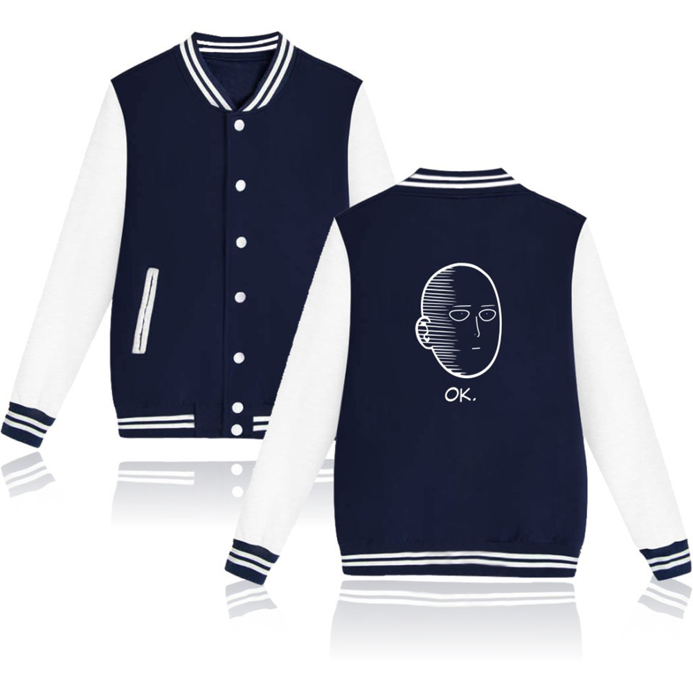Autumn Winter Fashion Printing Baseball Uniform Coat LF-107ab-4 blue_M