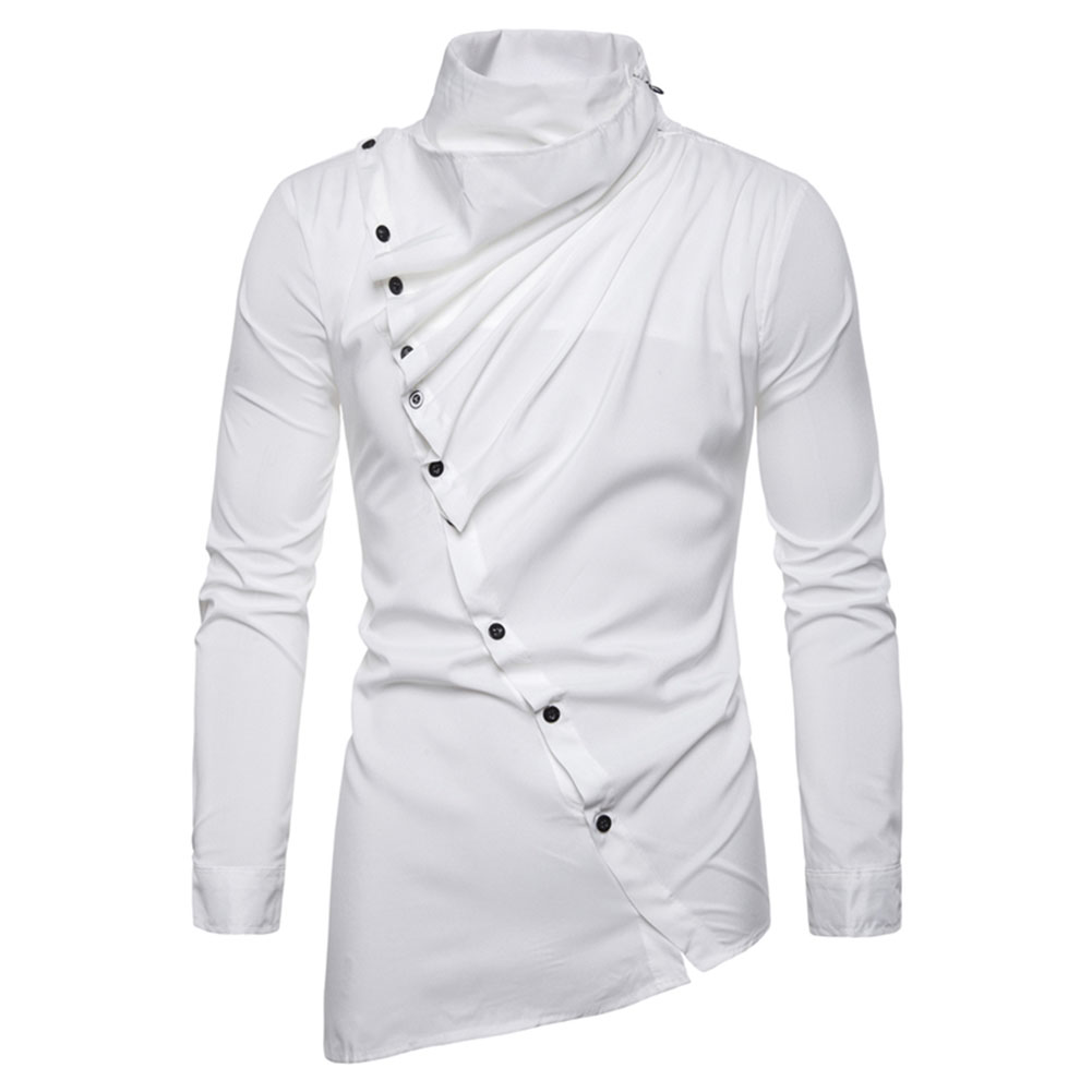 Men's Shirt Asymmetric Oblique Placket Stand-up Collar Long-sleeved Shirt White _M