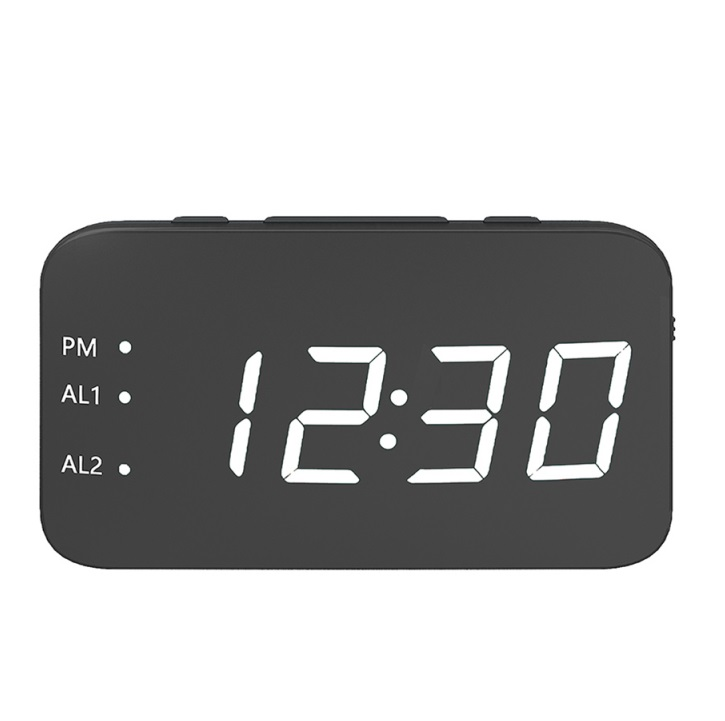 Multifunction Mirror Alarm Clock LED Mirror Snooze Wireless thermometer Table Clock white