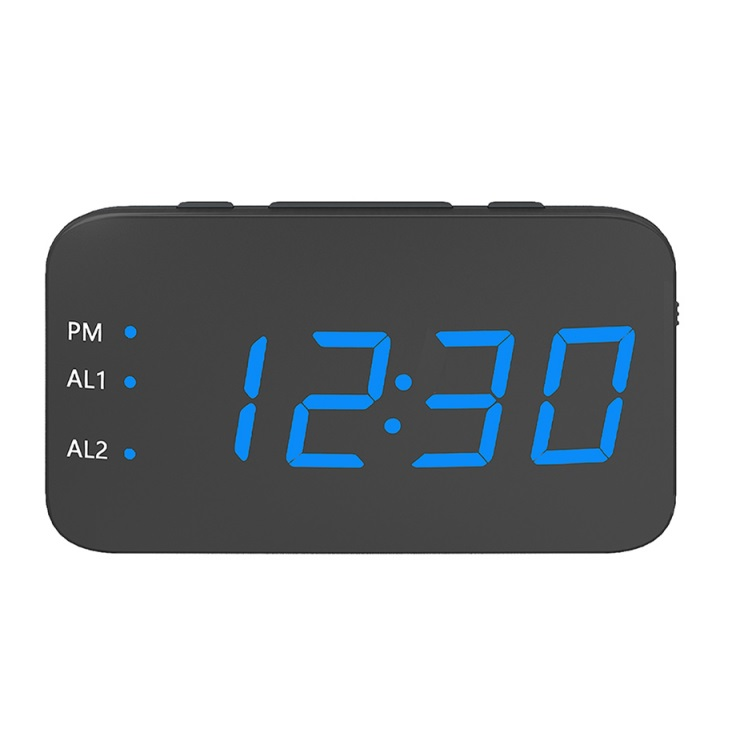 Multifunction Mirror Alarm Clock LED Mirror Snooze Wireless thermometer Table Clock blue