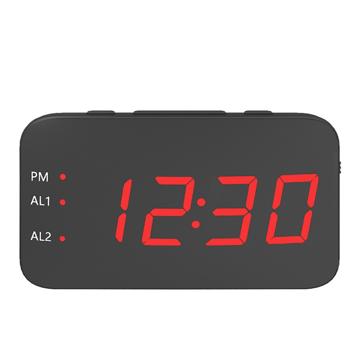 Multifunction Mirror Alarm Clock LED Mirror Snooze Wireless thermometer Table Clock red