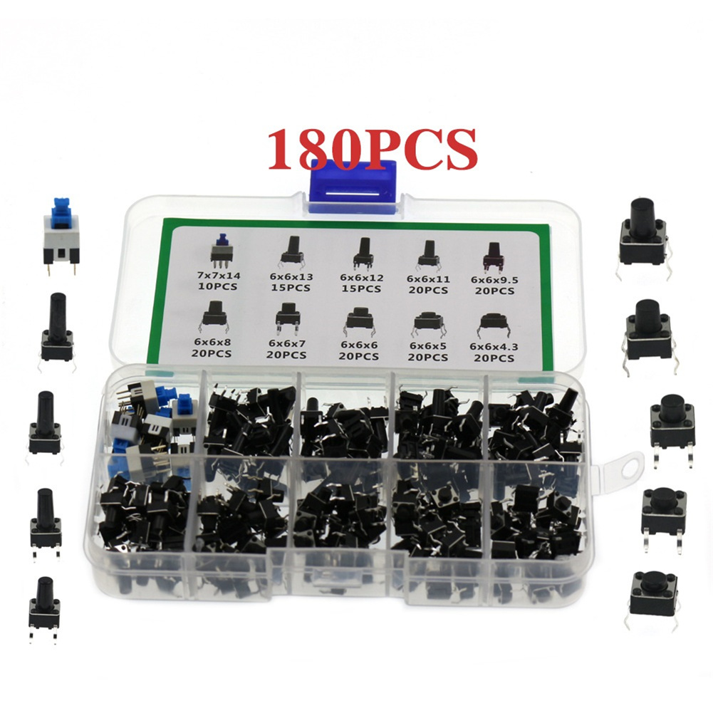 180pcs/set 10 Type 6*6 Light Micro Touch Switch Set Push Button Switch Kit Assortment Set 180pcs