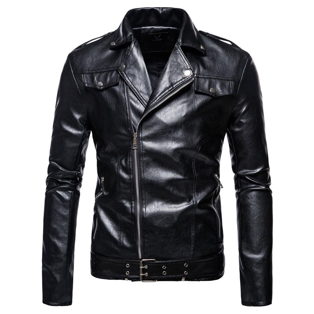 Men's Jacket Motorcycle Leather Autumn Large Size Lapels Pu Casual Jacket Black _M