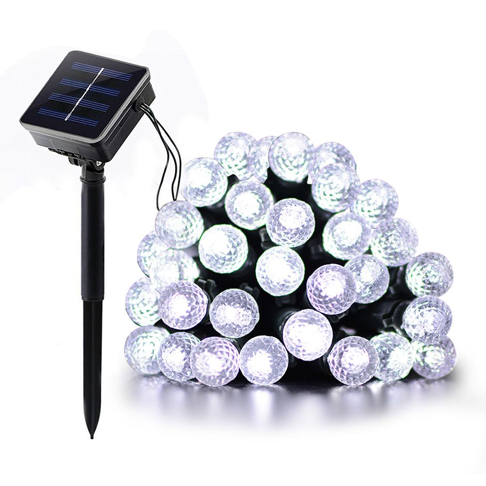 7M 50LEDs Diamond Bubble Designed Solar Powered String Light for Outdoor White light_(ME0003101)