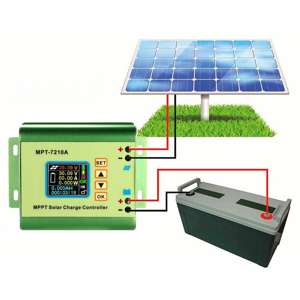 MPT-7210A LCD MPPT Solar Panel Charge Controller Aluminum Alloy for Lithium Battery 24V / 36V / 48V / 60V / 72V Battery Pack MPT-7210A