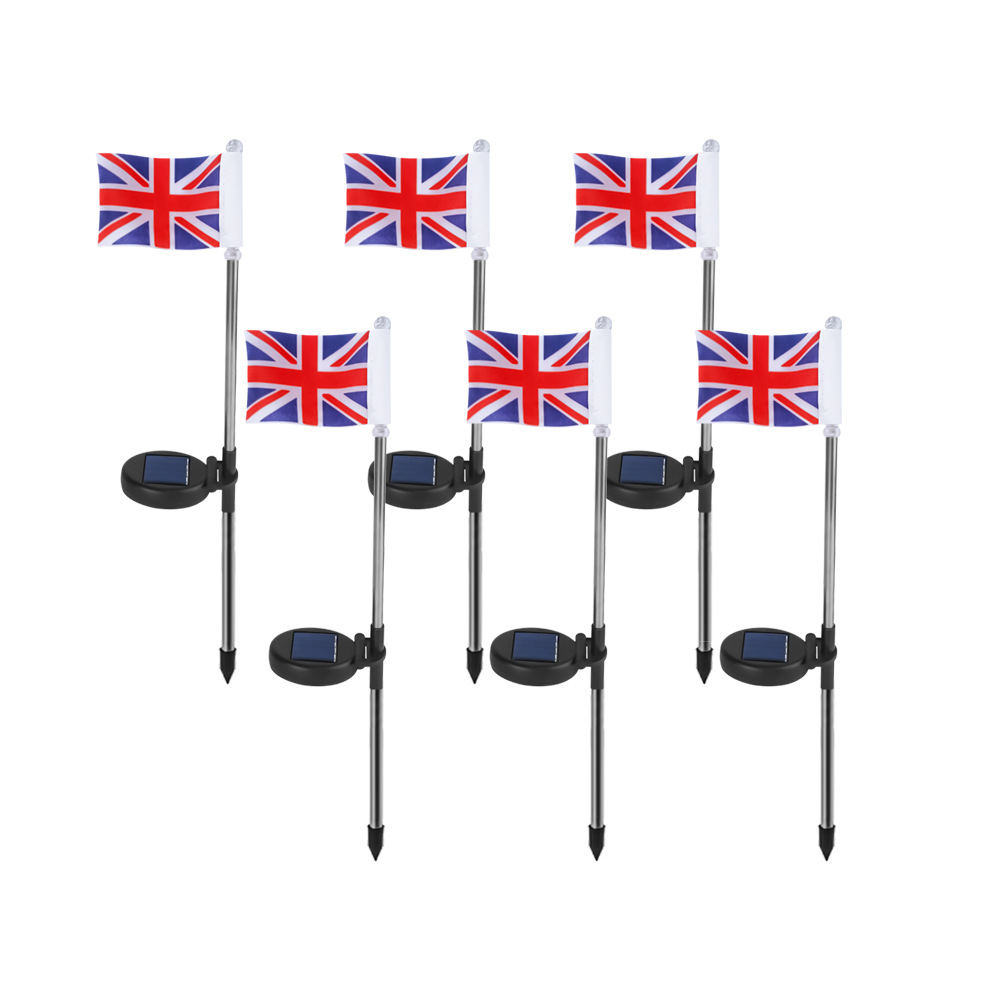 2 PCS LED Solar Ground Flag Light Waterproof Garden Decoration Cool Courtyard Lawn Light British flag