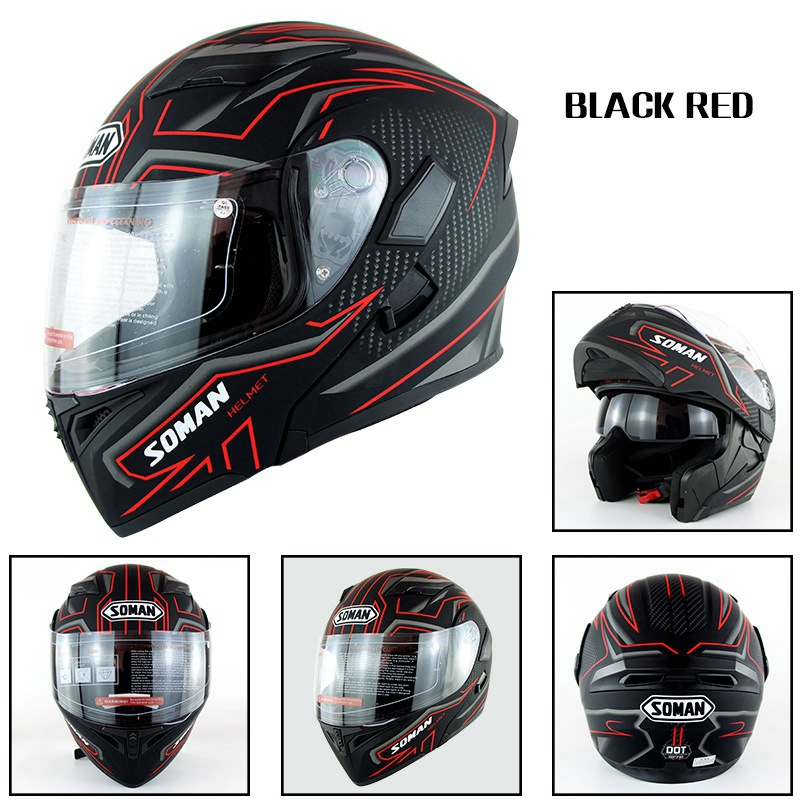 Motorcycle Helmet Unisex Double Lens Uncovered Helmet Off-road Safety Helmet Matte black and red lines_L