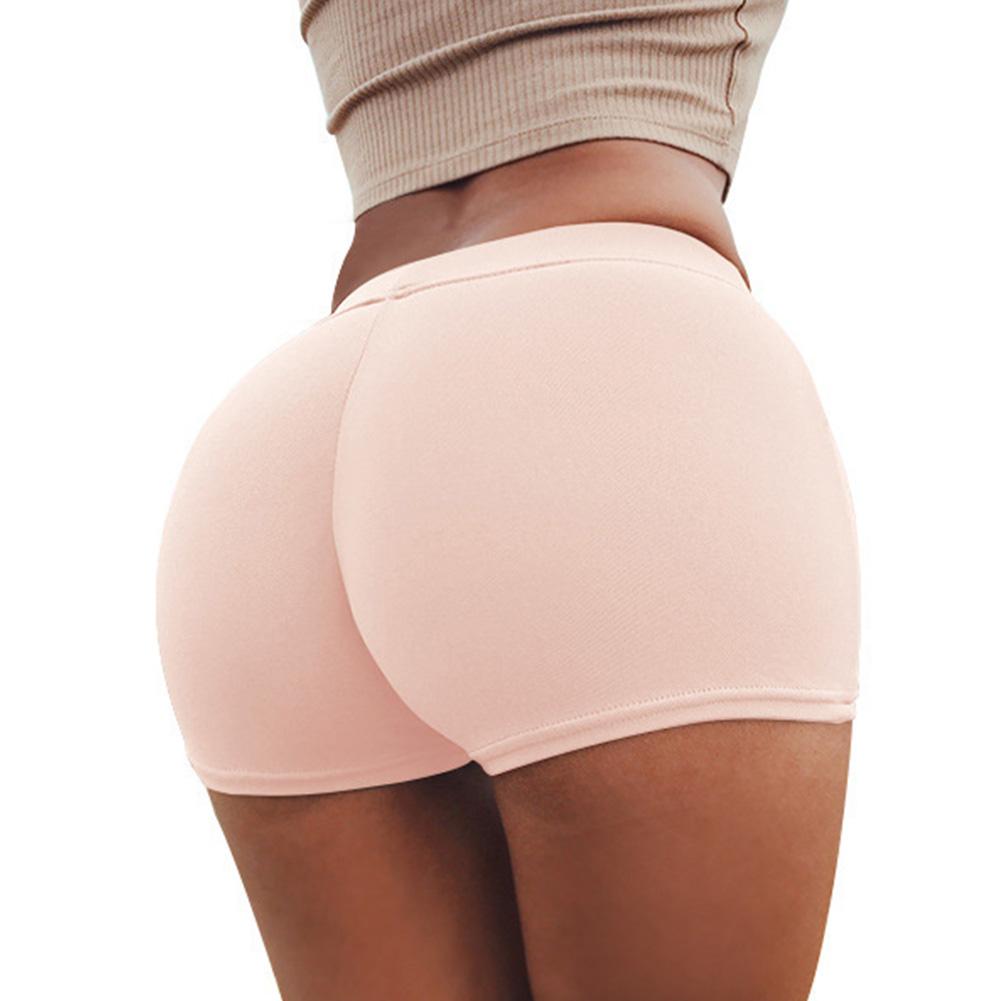 Women Boxer Elastic Sport Yoga Jogging Gym Exercise Tight Base Safety Boxer Shorts Pink_One size