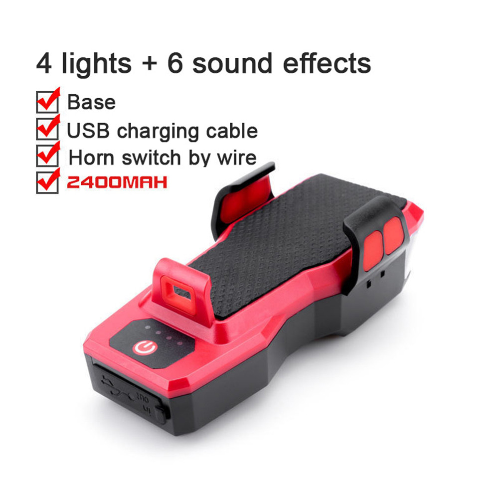 4 in 1 Bicycle Strong Light Headlight Set With Horn Mobile Phone Holder For Bike MTB Light 909 red_2400ma