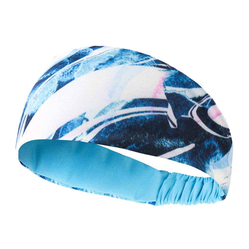 Sport Headband Lycra Breathable Absorbent Antiperspirant Belt Basketball Fitness Running Guide Head Band blue