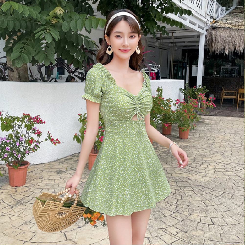 2 Pcs/set Women Swimming Suit Floral Printing One-piece Skirt-style Swimwear+ Shorts green_M