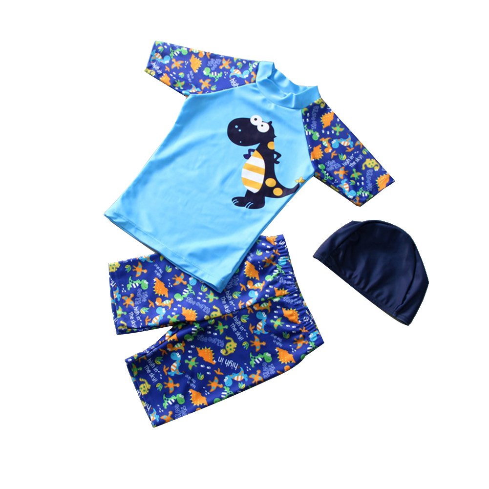 3pcs/set Boy Cute Swimming Suit Sunscreen Suit Tops + Shorts + Hat Dinosaur_L