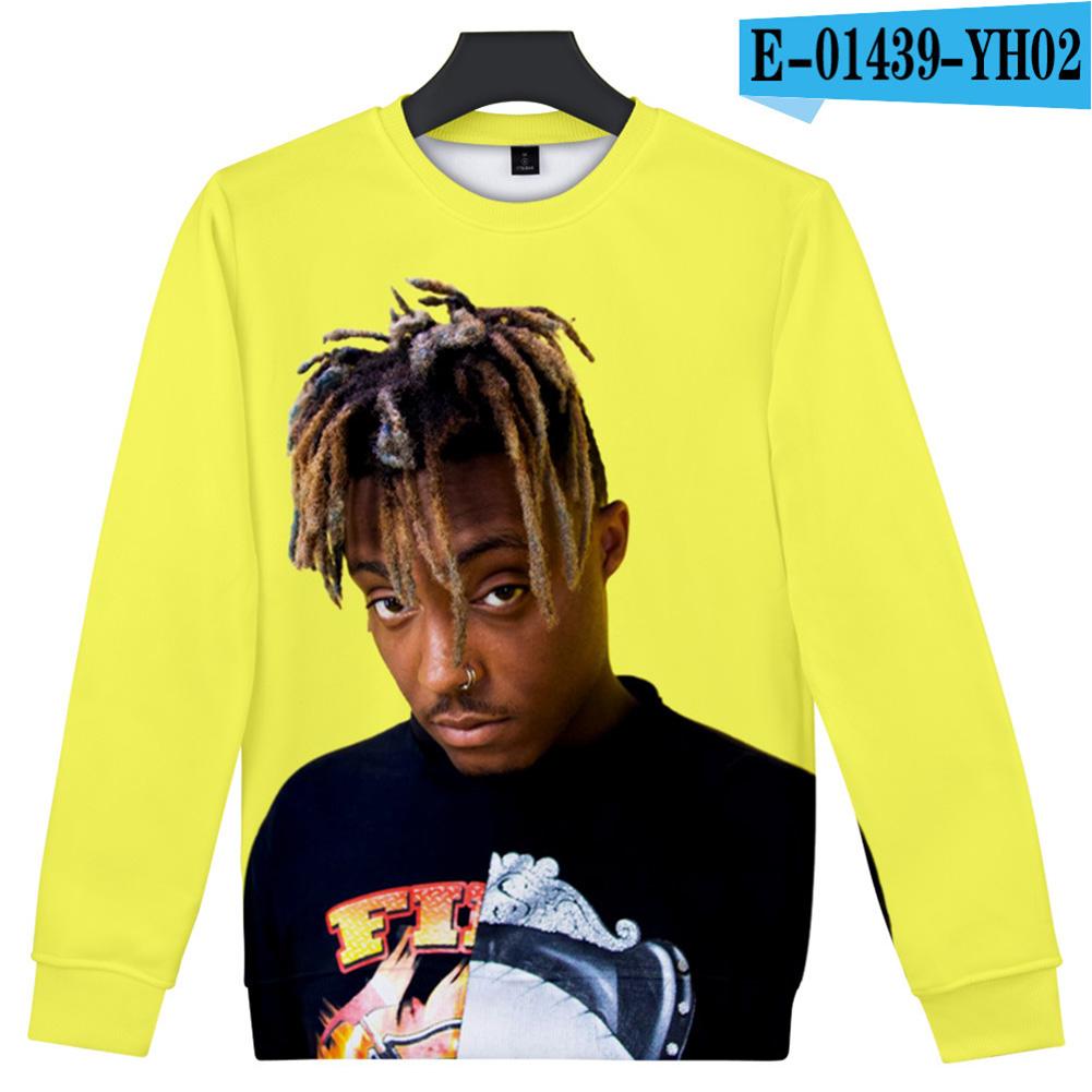 Men Women Sweatshirt JUICE WRLD Head Portrait Printing Crew Neck Unisex Loose Pullover Tops Yellow_S